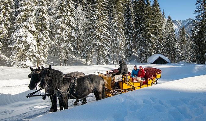 Das Postgut Tweng bietet im Winter Pferdeschlittenfahrten an und im Somer Kutschenfahrten